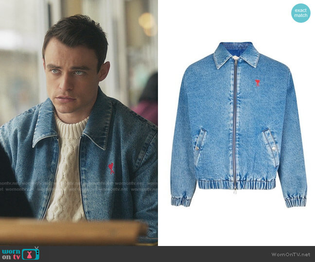 Ami de Coeur Denim Jacket by Ami Paris worn by Maximus Wolfe (Thomas Doherty) on Gossip Girl