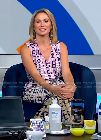 Amy's mixed check print jumpsuit on Good Morning America