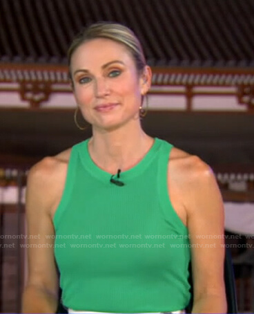 Amy's green ribbed tank top on Good Morning America
