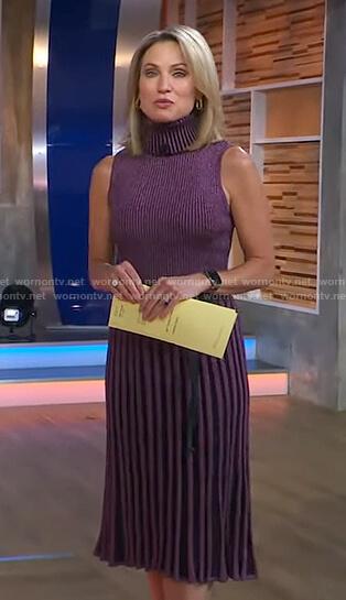 Amy's metallic ribbed turtleneck dress on Good Morning America