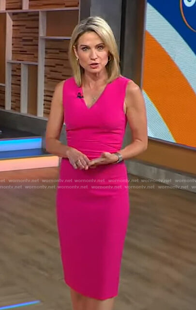 Amy's pink v-neck sleeveless dress on Good Morning America