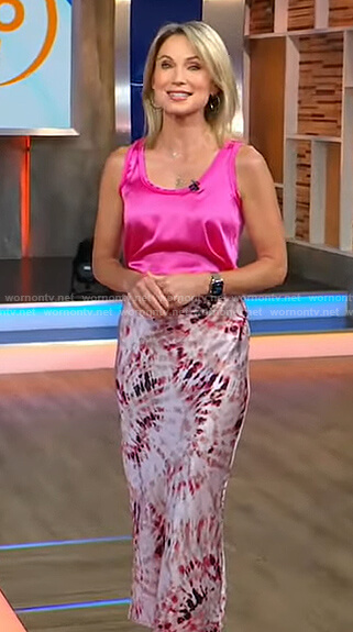 Amy's pink tank and tie dye skirt on Good Morning America