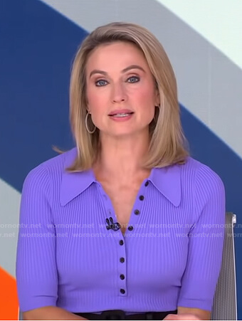 Amy's purple ribbed polo and black skirt on Good Morning America