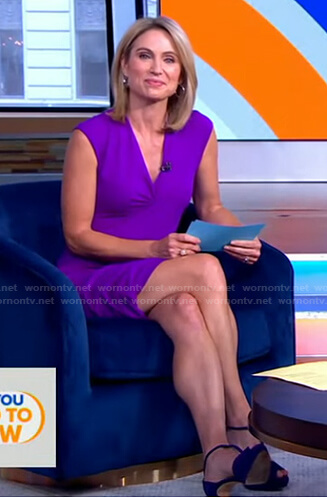 Amy's purple v-neck sleeveless dress on Good Morning America
