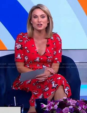 Amy's red floral print v-neck dress on Good Morning America
