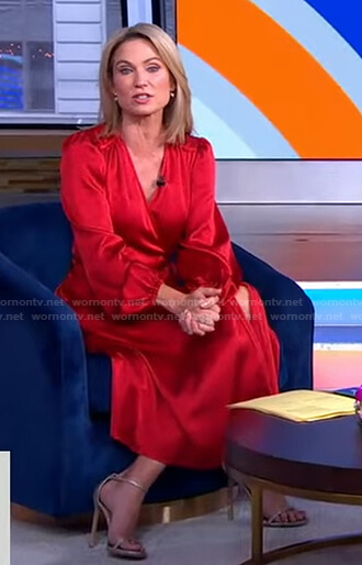 Amy's red satin wrap dress on Good Morning America