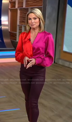 Amy's red and pink colorblock top and burgundy pants on Good Morning America