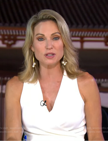 Amy's white sleeveless wrap dress on Good Morning America