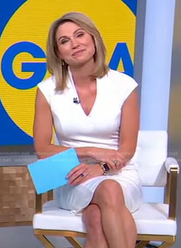 Amy's white v-neck sheath dress on Good Morning America