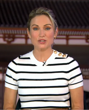 Amy's white striped short sleeve top on Good Morning America