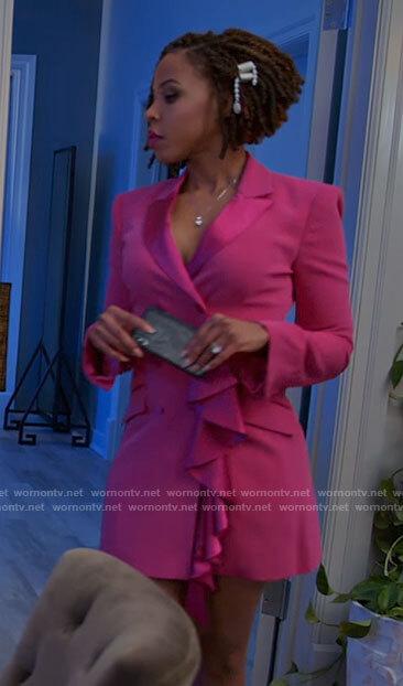 Andi's pink ruffled blazer dress on Tyler Perrys Sistas