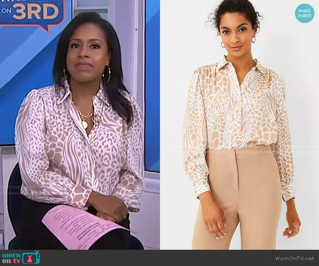 Mixed Animal Print Button Down Shirt by Ann Taylor worn by Sheinelle Jones  on Today