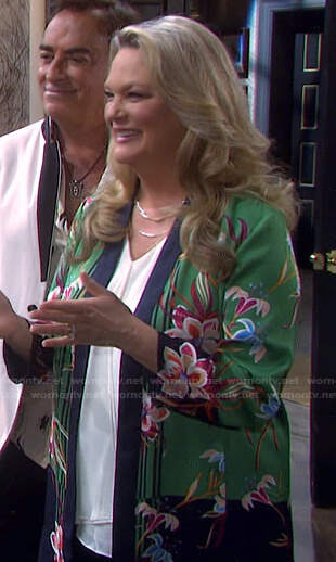 Anna's green floral open jacket on Days of our Lives