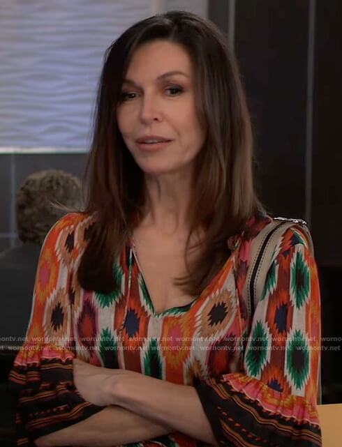 Anna's printed tie neck top on General Hospital