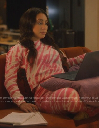 Ana's pink tie dye sweatshirt and pants on Grown-ish