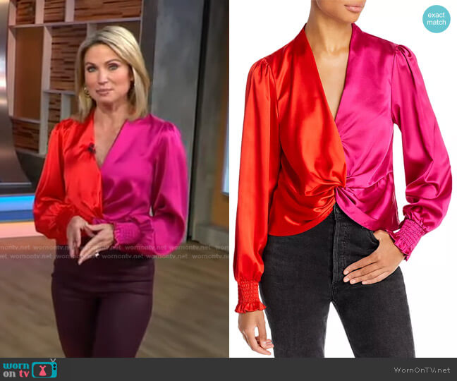 Color Blocked Twist Front Top by Aqua worn by Amy Robach  on Good Morning America