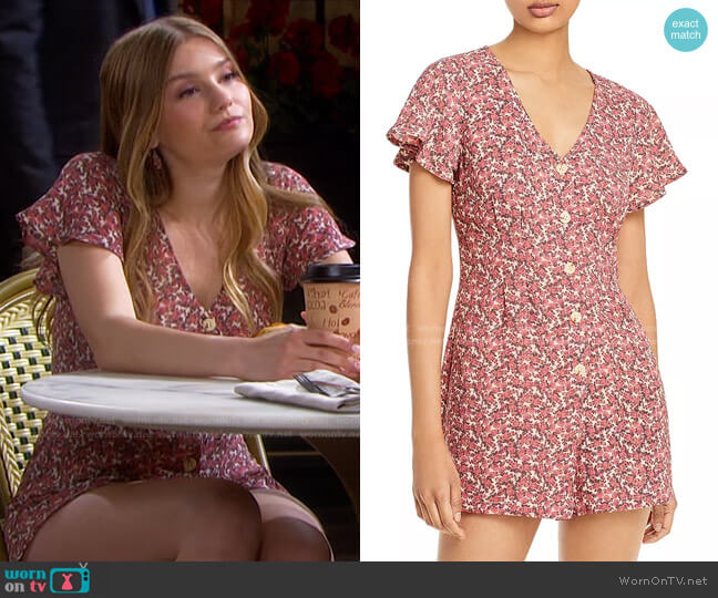 Floral Button Front Short Sleeve Romper by Aqua worn by Alice Caroline Horton (Lindsay Arnold) on Days of our Lives