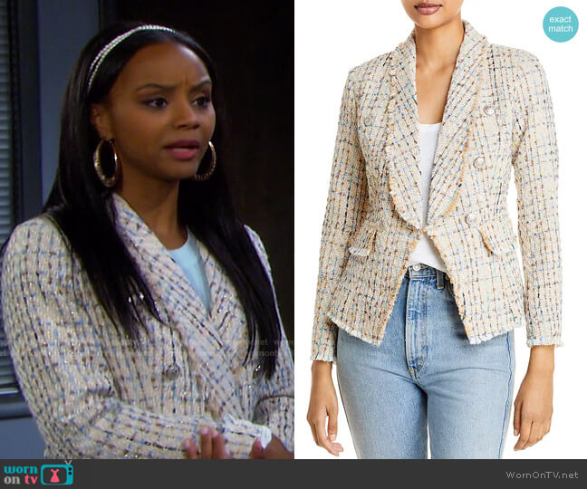 Tweed Blazer by Aqua worn by Chanel Dupree (Raven Bowens) on Days of our Lives