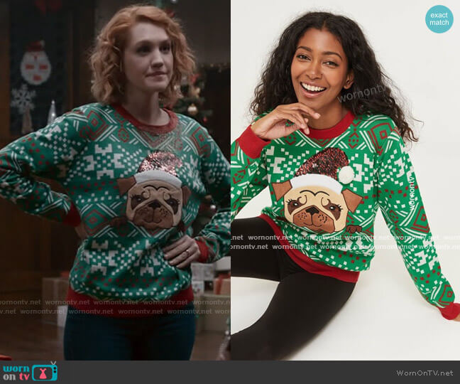 Ardene Ugly Christmas Sweater worn by Corinne Dearborn (Hope Lauren) on The Republic of Sarah