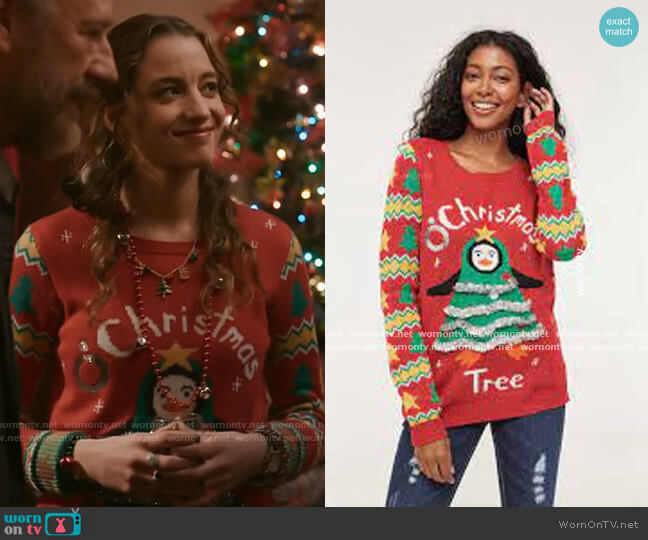Ardene Ugly Christmas Sweater worn by Sarah Cooper (Stella Baker) on The Republic of Sarah