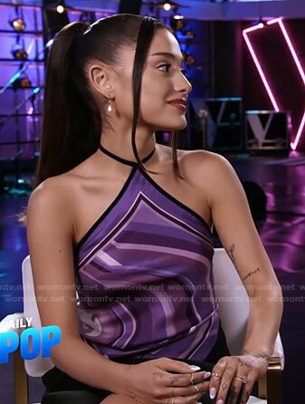 Ariana Grande's purple printed halter top on E! News Daily Pop