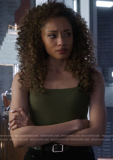 Astra's green square neck tank top on Legends of Tomorrow