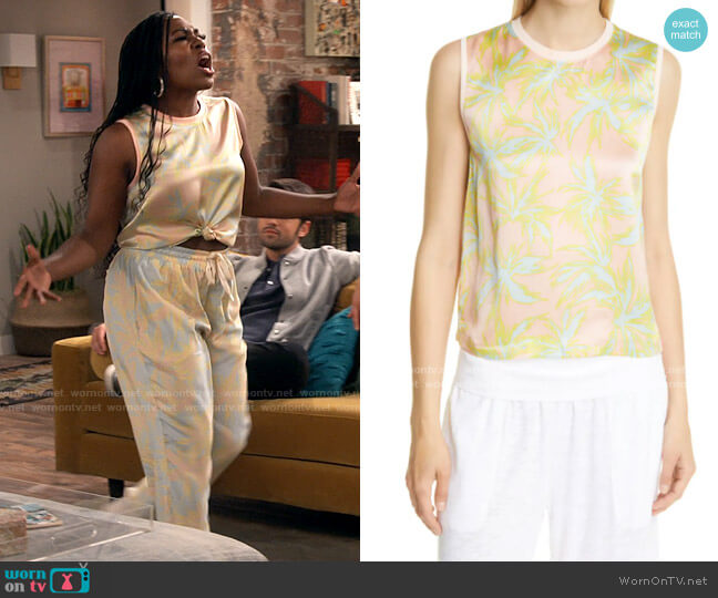 ATM Anthony Thomas Melillo Palm Print Silk Charmeuse Tank worn by Harper (Laci Mosley) on iCarly