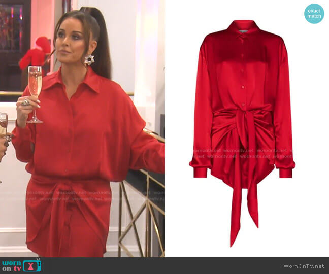 Tie-Front Shirt Dress by Attico worn by Kyle Richards  on The Real Housewives of Beverly Hills
