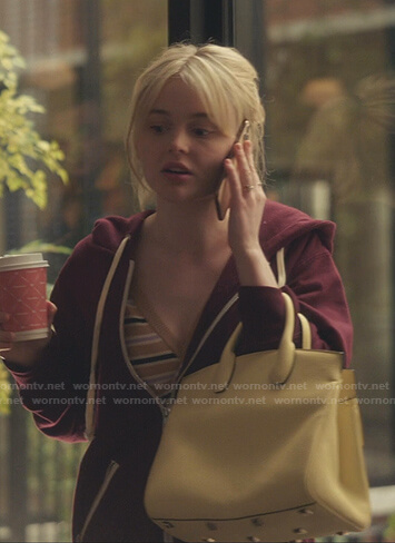 Audrey's striped v-neck sweater and yellow bag on Gossip Girl