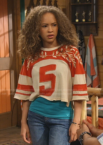 Ava's 5 embroidered cropped tee on Bunkd