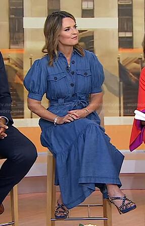 Savannah's blue puff sleeve tie waist dress on Today