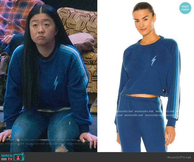 Bolt Embroidery Cropped Classic Sweatshirt by Aviator Nation worn by Alice Kwan (Sherry Cola) on Good Trouble