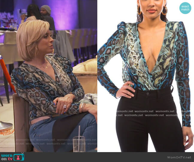 Plunging Neck Line Blue Snake Print Bodysuit by Baharanch Western Wear worn by Robyn Dixon  on The Real Housewives of Potomac