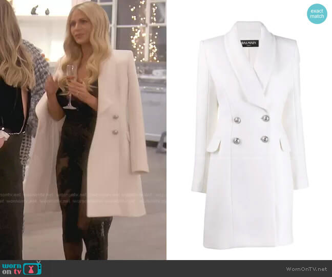 Double Breasted Long Line Jacket by Balmain worn by Dorit Kemsley  on The Real Housewives of Beverly Hills
