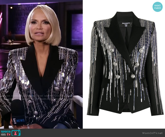 Embellished Double-Breasted Blazer by Balmain worn by Kristin Chenoweth on E! News Daily Pop