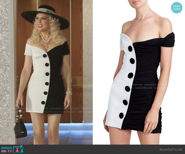 Off-The-Shoulder Draped Two-Tone Dress by Balmain worn by Alexis Carrington (Elaine Hendrix) on Dynasty