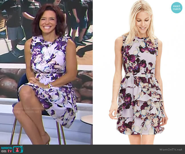 Synthetic Floral Ruffle Dress by Banana Republic worn by Stephanie Ruhle on Today