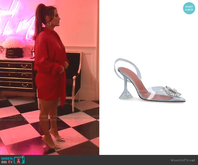 Begum Glass Slingback Pumps by Amina Muaddi worn by Kyle Richards  on The Real Housewives of Beverly Hills
