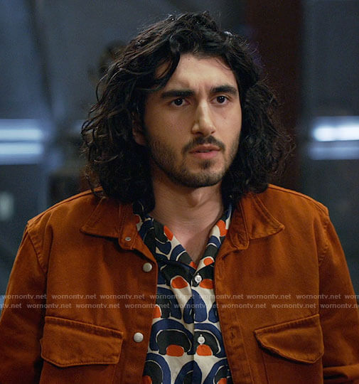 Behrad's printed button down shirt on Legends of Tomorrow