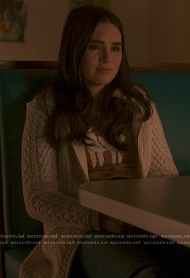 Bella's cable knit zip cardigan on The Republic of Sarah