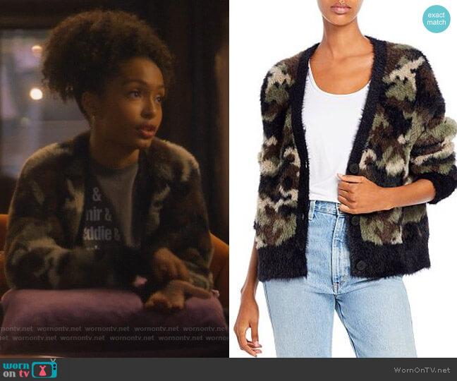 Camo Cardigan Sweater by Bella Dahl worn by Zoey Johnson (Yara Shahidi) on Grown-ish