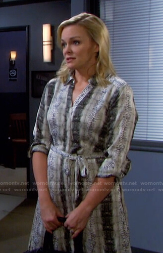 Belle's animal print shirtdress on Days of our Lives