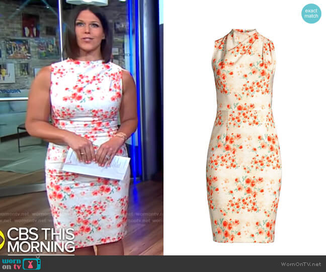 Black Halo Corrine Dress in Falling Roses worn by Dana Jacobson  on CBS Mornings