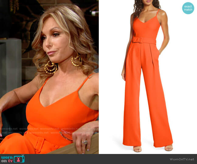 Black Halo Evie Jumpsuit worn by Lauren Fenmore (Tracey Bregman) on The Young & the Restless