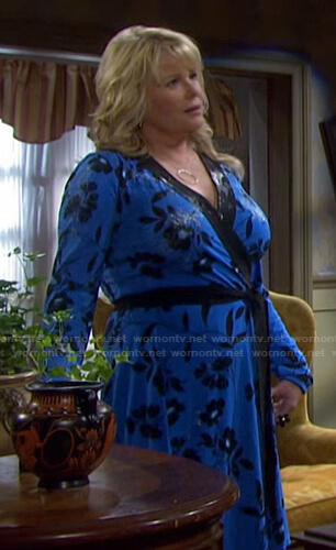 Bonnie's blue and black floral wrap dress on Days of our Lives