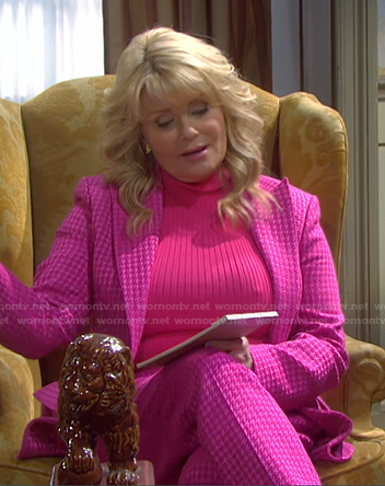 Bonnie's pink houldstooth blazer and pants on Days of our Lives