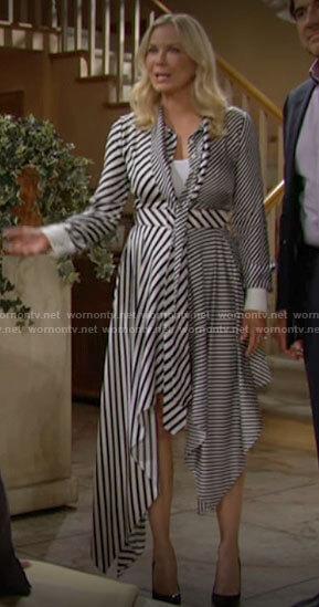 Brooke's striped asymmetric hem dress on The Bold and the Beautiful