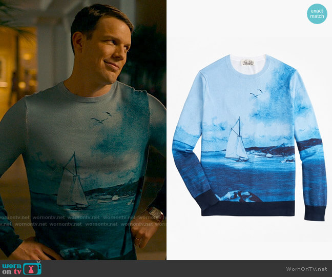 Brooks Brothers Supima® Cotton Ocean Motif Crewneck Sweater  worn by Shane Patton (Jake Lacy) on The White Lotus