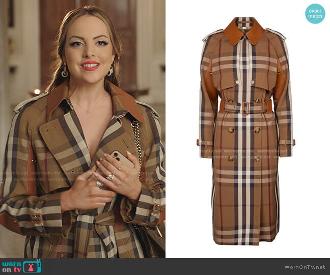 Belted Check Trench Coat by Burberry worn by Fallon Carrington (Elizabeth Gillies) on Dynasty
