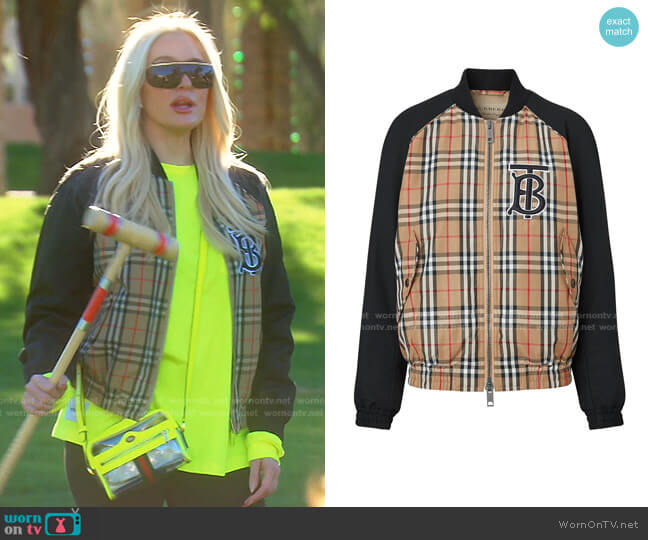 Monogram Motif Vintage Check Bomber Jacket by Burberry worn by Erika Jayne  on The Real Housewives of Beverly Hills
